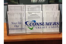 Acrylic brochure holder with logo for Consumers credit union.  Gurnee, IL